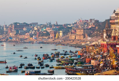VARANASI, INDIA - MARCH 2, 2013: Ganges river and Varanasi ghats during Kumbh Mela festival in early morning, Varanasi, India