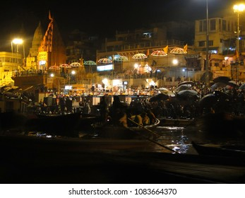VARANASI, INDIA - NOV 5 - Young Brahmin priests conduct aarti evening service on ghats of the Ganges,  on Nov 5, 2009, in Varanasi, India.