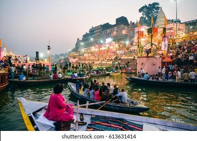 VARANASI, INDIA - NOVEMBER 17: River of Ganga NOVEMBER 17, 2015 in Varanasi. Prayag Ghat during evening Ganga aarti.