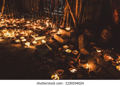 Varanasi India November 7, 2018 View of traditional candles for Diwali festival in the streets of Varanasi in the night