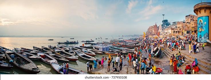 VARANASI, INDIA - OCTOBER 10, 2017: Ancient ghats on the Ganges Riverbank in Varanasi