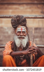 VARANASI, INDIA - OCTOBER 20, 2017 : Portrait holy man on the ghats of the Ganges river in Varanasi, India .