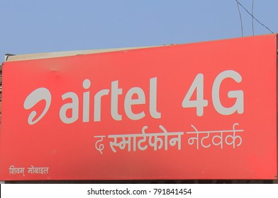 VARANASI INDIA - OCTOBER 31, 2017: Airtel Indian mobile phone company. Airtel is the second largest provider of mobile telephony and second largest provider of fixed telephony in India