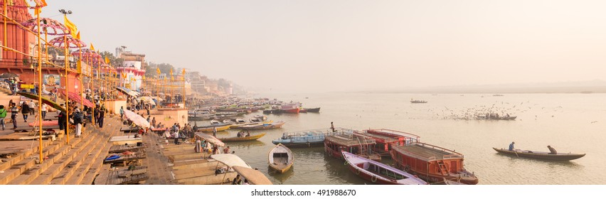 VARANASI, INDIA-December 15, 2015:Morning view at holy ghats of Varanasi along Ganges river, India