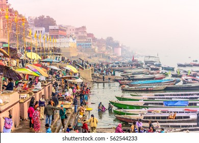 VARANASI, INDIA-January 24, 2016: Morning view of holy ghats of river Ganges in Varanasi, India