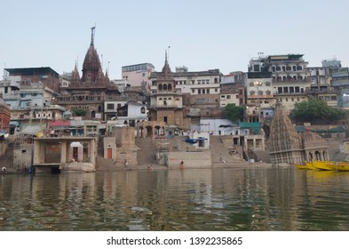 Varanasi, Uttar Pradesh - 22.04.2019: A view of the the temple town of Varanasi or Kashi which stands on the west bank of river ganga.