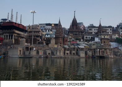 Varanasi, Uttar Pradesh - 22.04.2019: A view of Manikarnika ghat of the temple town of Varanasi or Kashi which stands on the west bank of river ganga.