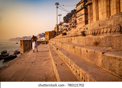 Varanasi, Uttar Pradesh, India - December 15, 2015 : Pilgrims bathing ( Morning activities) at banks of river Ganges Ganga.