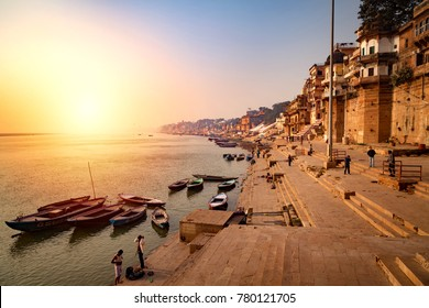Varanasi, Uttar Pradesh, India - December 15, 2015 : Banks on the Ganges River, Hindu holy city on Ganges Ganga.