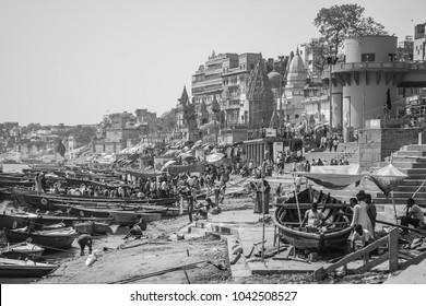 Varanasi, Uttar Pradesh, India- March 12 2017: View in black and white of the sacred city of Varanasi, India.