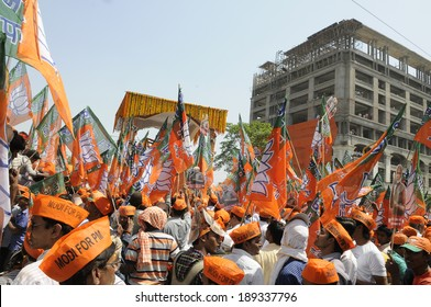 VARANASI-APRIL 24: Followers of Narendra Modi  participating in  a rally in his support  on April  24, 2014 in Varanasi , India.