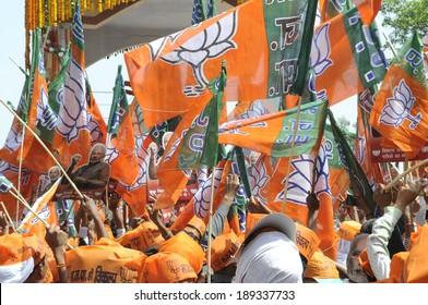 VARANASI-APRIL 24: Sea of BJP flags during a rally in support  of Mr. Narendra Modi on April  24, 2014 in Varanasi , India.