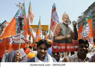VARANASI-APRIL 24: Supporters of  Narendra Modi  participating  rally in his support  on April  24, 2014 in Varanasi , India.