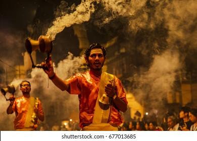 Varanasi,India-March 15,2017;he prays to Gods in Aarti