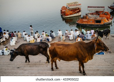 VARANASI-MARCH 04 :people preparing for religious celebration on the bank of Gange on March 04, 2016 in Varanasi,india