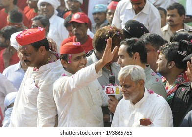VARANASI-MAY 10:  UP Chief Minister Akhilesh Yadav  waving towards the onlookers during an election rally on May 10, 2014 in Varanasi , India.