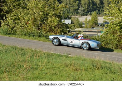 VARANO (PR), ITALY - SEPTEMBER 18: A light blue BMW 507 Roadster takes part to the GP Nuvolari classic car race on September 18, 2015 near Varano (PR). The car was built in 1957.