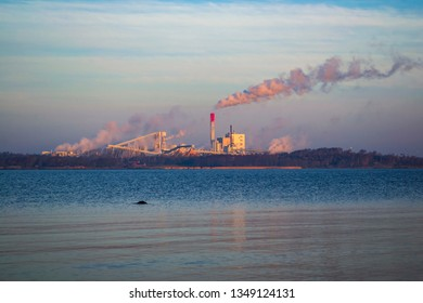 Varberg / Sweden Feb 24 2019: The wood pulp production facility of Sodra Cell in Varo, Halland. Modern production of wood pulp, green energy, district heating and biofuel.