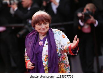 Agnуs Varda attends the screening of 'Blackkklansman' during the 71st annual Cannes Film Festival at Palais des Festivals on May 14, 2018 in Cannes, France.