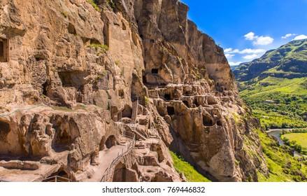 Vardzia ancient cave city-monastery in the Erusheti Mountain on the left bank of the Kura River, thirty kilometres from Aspindza, Georgia.