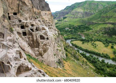 Vardzia is a cave monastery site in southern Georgia, excavated from the slopes of the Erusheti Mountain on the left bank of the Kura River, thirty kilometres from Aspindza.