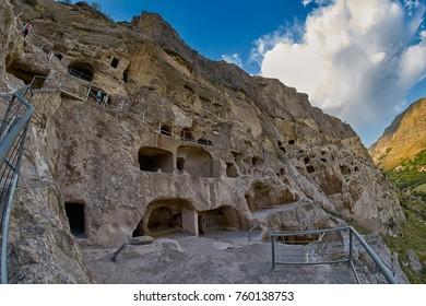 VARDZIA, GEORGIA - 06 AUGUST 2017: Famous Cave mountain city of Vardzia Landmark in Georgia