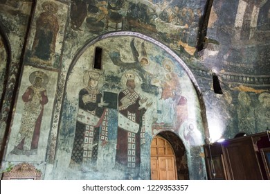 Vardzia, Georgia - Jul 14 2018: Ancient Mural painting at Vardzia Cave Monastery complex and ancient city. a famous historic site in Vardzia, Samtskhe-Javakheti, Georgia.