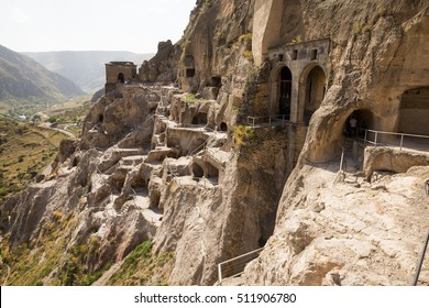 Vardzia is a medieval cave town situated on the left bank of the Mtkvari River, near Akhaltsikhe, Georgia.