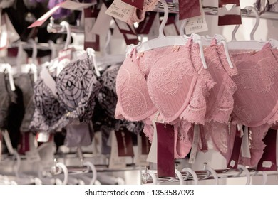 Vareity of bra hanging in lingerie underwear store. Advertise, Sale, Fashion concept.