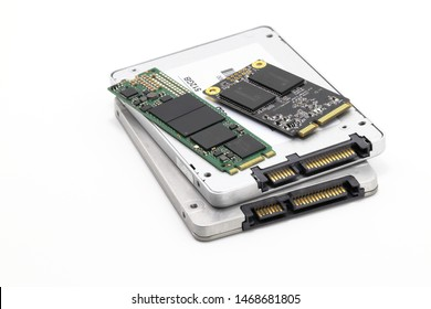 vareity of solid state drives for computer - ssd sata, NVME PCIe, SATA SSD m key, msata  isolated on white background