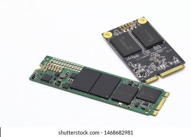 vareity of solid state drives for computer - NVME PCIe and msata  isolated on white background