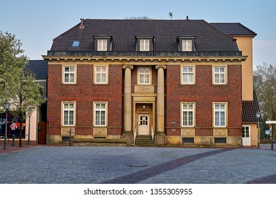 Varel, Germany - March 30, 2019: historic captain's house built of bricks at the square Neumarktplatz