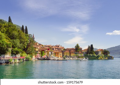 Varenna in afternoon sunlight seen from the lake, Lake Como, Italy