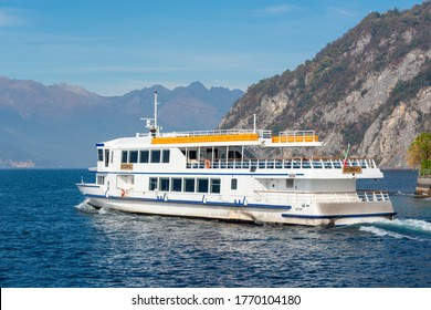 Varenna (CO) / Italy - October 28, 2017: A passenger ferry departing Varenna on Lake Como.