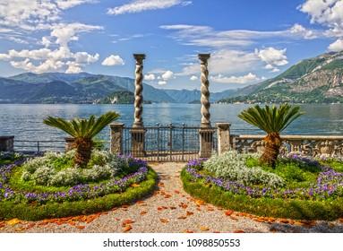 Varenna garden of Villa Monastero, Como lake, Italy
