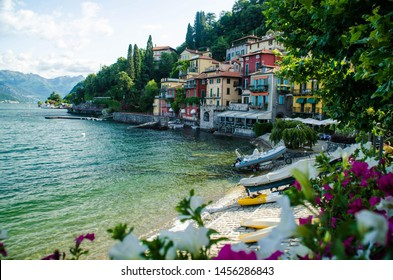 VARENNA, ITALY - 13 JULY, 2019: The village on the Como lake in a summer day on July 13, 2019 in Varenna, Italy