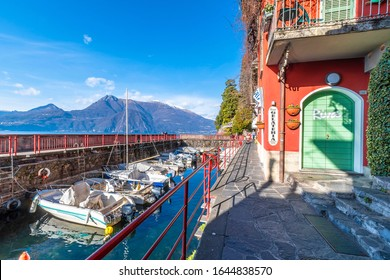 Varenna, Italy - February 03, 2020 : Varenna Town lakeside view in Italy