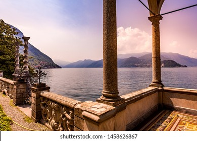 VARENNA, ITALY, JUNE 05, 2019 : exteriors and gardens of villa Monastero, on lake Como, june 05, 2019, in Varenna, italy