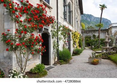 Varenna, Italy - May 06 2016: The house in a garden of Villa Monastero, spring time