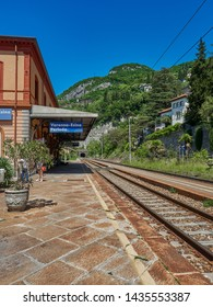 Varenna, Italy - May 31, 2019: Varenna-Esino-Perledo regional train station provides an easy access towards the villages in the middle area of lake Como: Varenna, Bellagio, Mennagio