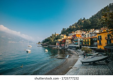 Varenna, Italy - October 14, 2018 : Verenna a beautiful small lake village at lake como, a famous lake in Italy, picture with grain film effect