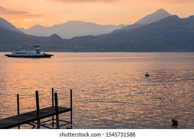 VARENNA ITALY ON APRIL 2017: Sunset in Varenna village in Como lake Lombardy Italy