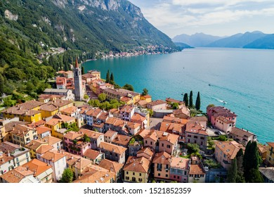 Varenna - Lake Como (IT) - Aerial view of the village and Vezio Castle