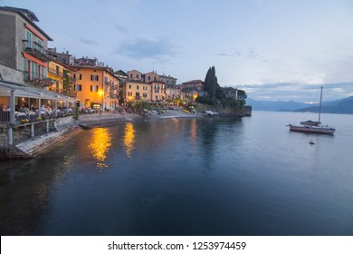 VARENNA LOMBARDY ITALY ON APRIL 2017: Como lake in Varenna at twilight Lombardy Italy