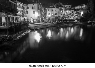 VARENNA LOMBARDY ITALY ON APRIL 2017: Varenna village in Como lake Lombardy Italy Night over the lake