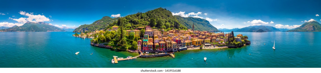 Varenna old town with the mountains in the background, Italy, Europe.