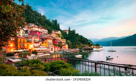 Varenna old town - scenic sunset view in Como lake, Italy.