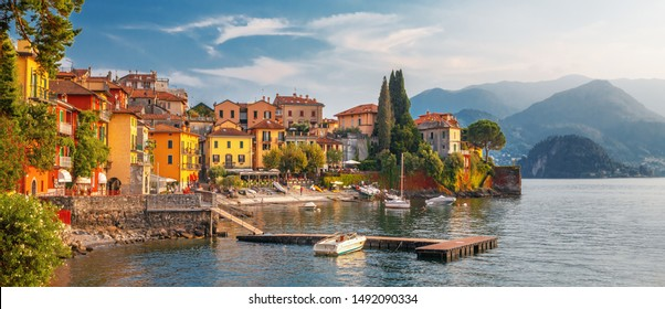Varenna scenic sunset view in Como lake, Italy.