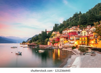 Varenna scenic sunset view in Garda lake, Italy.