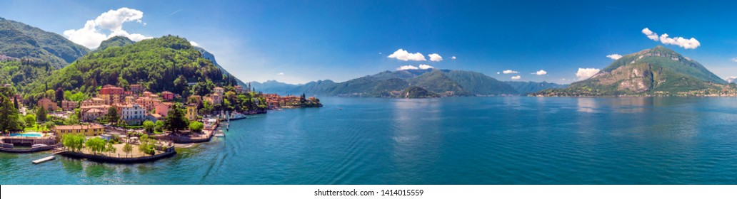 Varenna village surrounded by mountains. Varenna is a village on Lake Como in the Province of Lecco in the Italian region Lombardy, Italy, Europe.